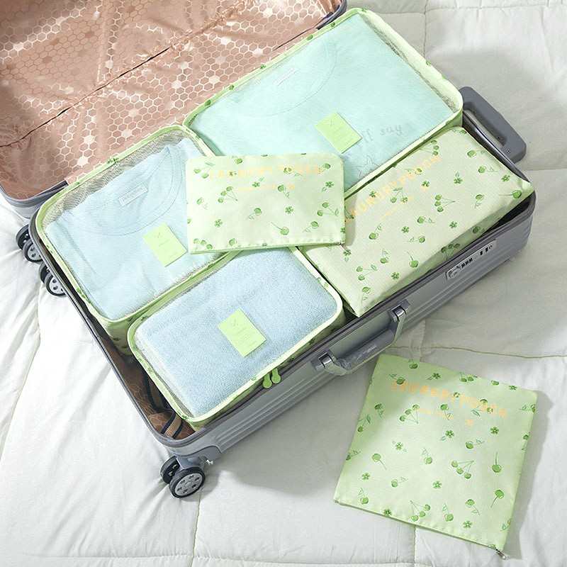 6 pcs Home Clothes Storage Bags Set Cube Daisy Printed Travel Luggage Organizer Pouch - Green Cherry