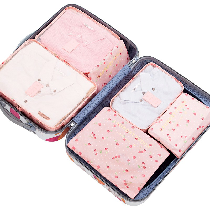 6 pcs Home Clothes Storage Bags Set Cube Daisy Printed Travel Luggage Organizer Pouch - Pink Cherry