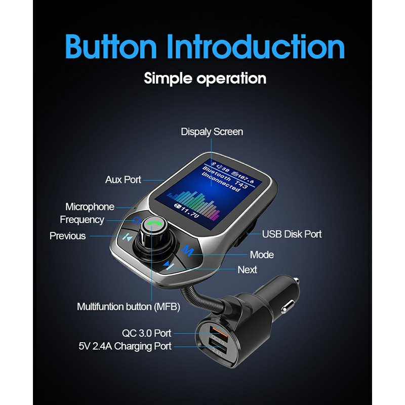 T43 Color TFT Screen Bluetooth Car Hands-Free USB Port 3 QC3.0 Fast Charging FM Transmitter MP3 Music Player