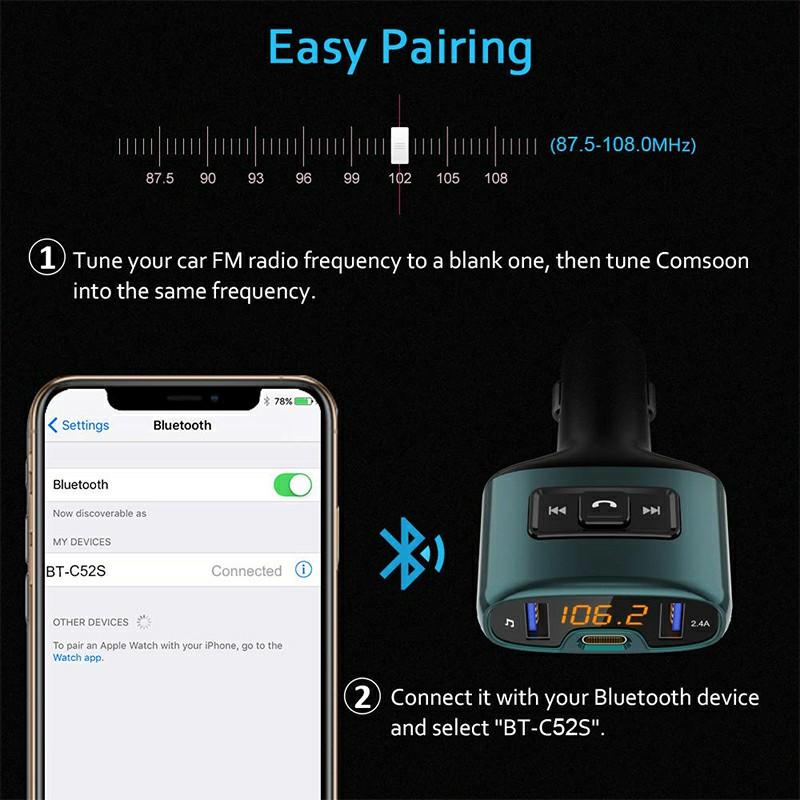 C52S Car Bluetooth MP3 Music Player Dual USB Hands-Free Call FM Transmitter