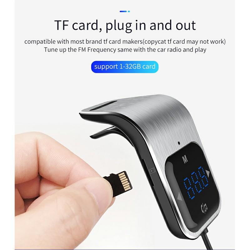 BC39 Car Bluetooth MP3 Music Player Dual USB Hands-Free Call FM Transmitter - Silver