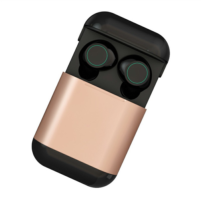 Original TWS S7 Bluetooth Headphones Earbuds Wireless Stereo Earphones with Mic Charging Box - Gold