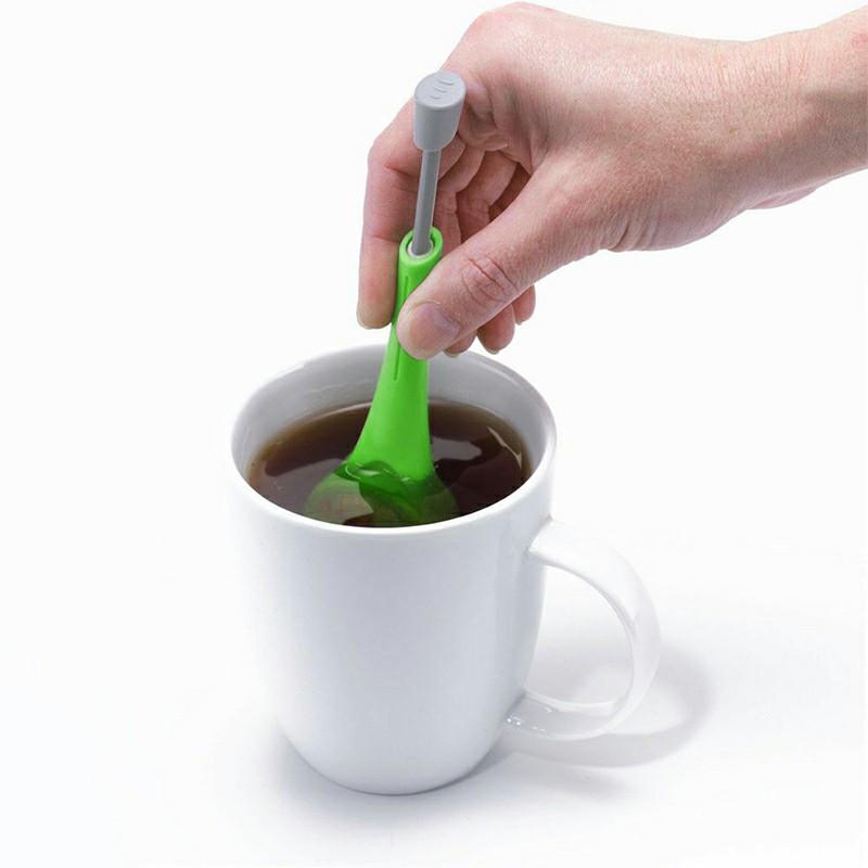 Tea Infuser Loose leaf Tea or Tea Bag Green Silicone Teaware Squeezer
