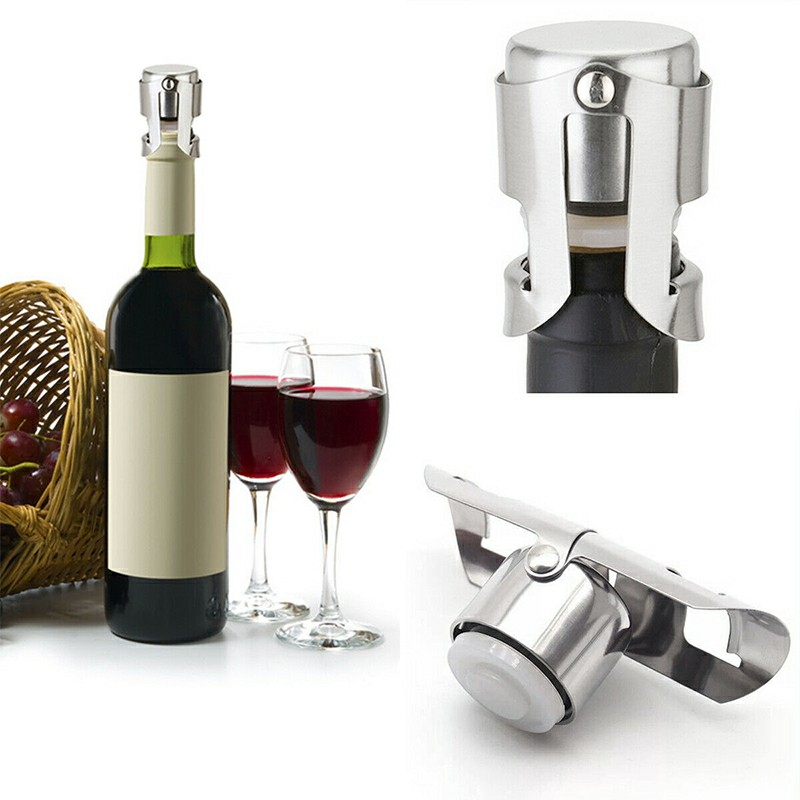 Stainless Steel Champagne Stopper Sparkling Wine Bottle Plug Sealer Keep Fresh Convenient