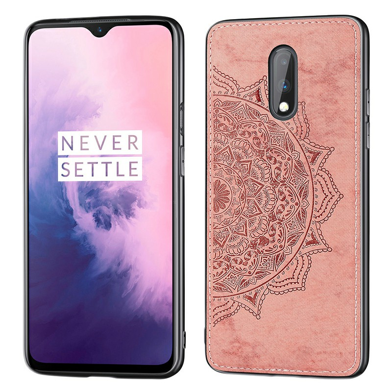 Mandala Embossed 3D Printed Fabric TPU Back Case Phone Cover for OnePlus 7 - Rose Gold