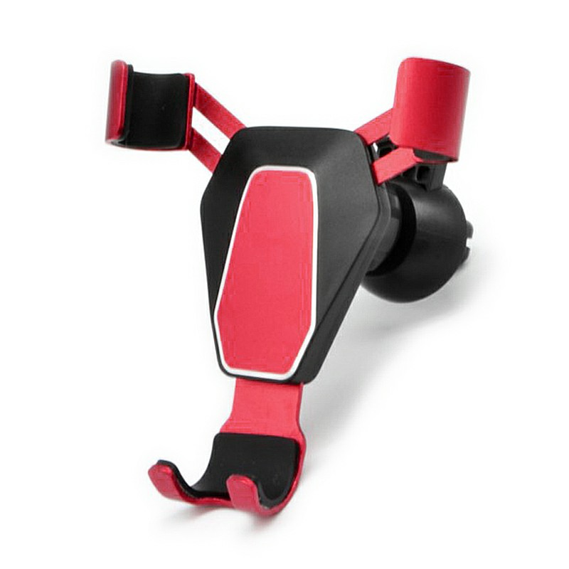 Gravity 360 Degree Rotation Car Air Vent Phone Holder Stand Metal Mount Bracket - Red