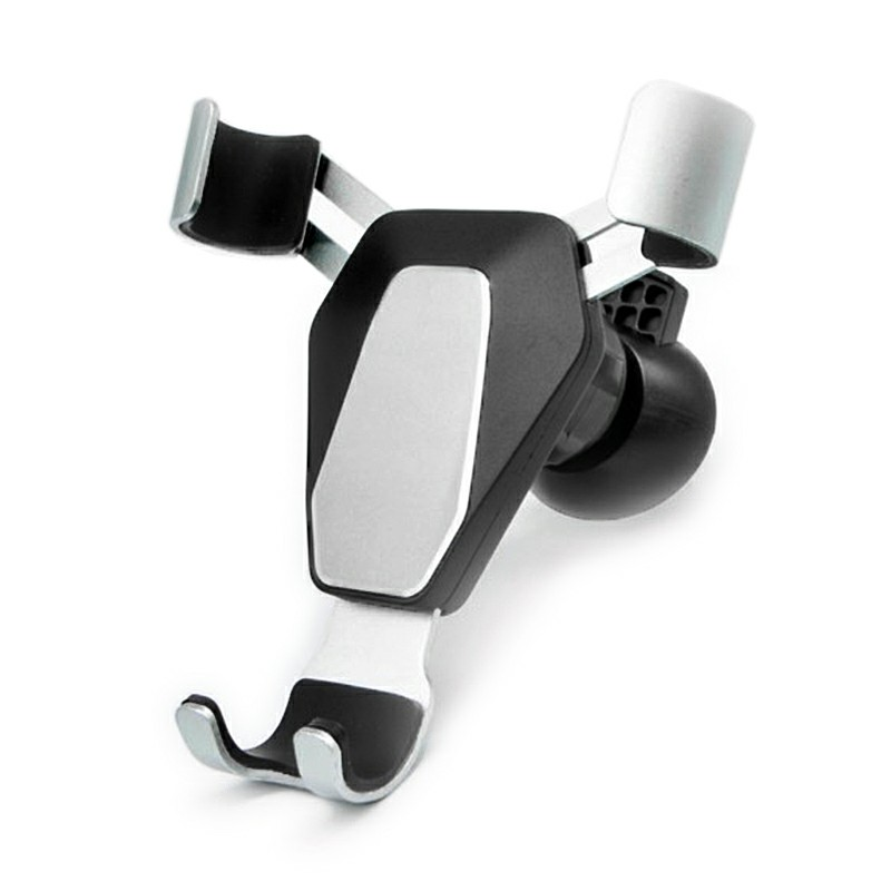 Gravity 360 Degree Rotation Car Air Vent Phone Holder Stand Metal Mount Bracket - Silver