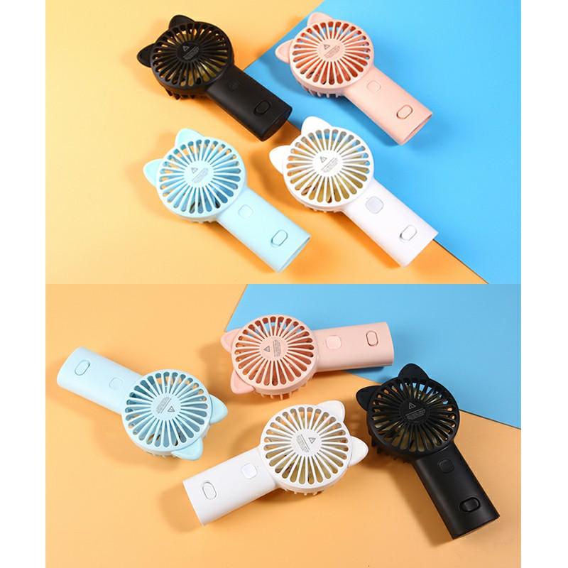 Cute Cat Ear USB Summer Portable Mini Fan Light Handheld Fan - Black