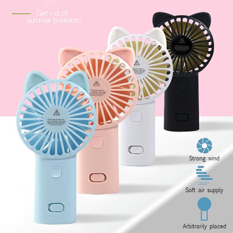 Cute Cat Ear USB Summer Portable Mini Fan Light Handheld Fan - White