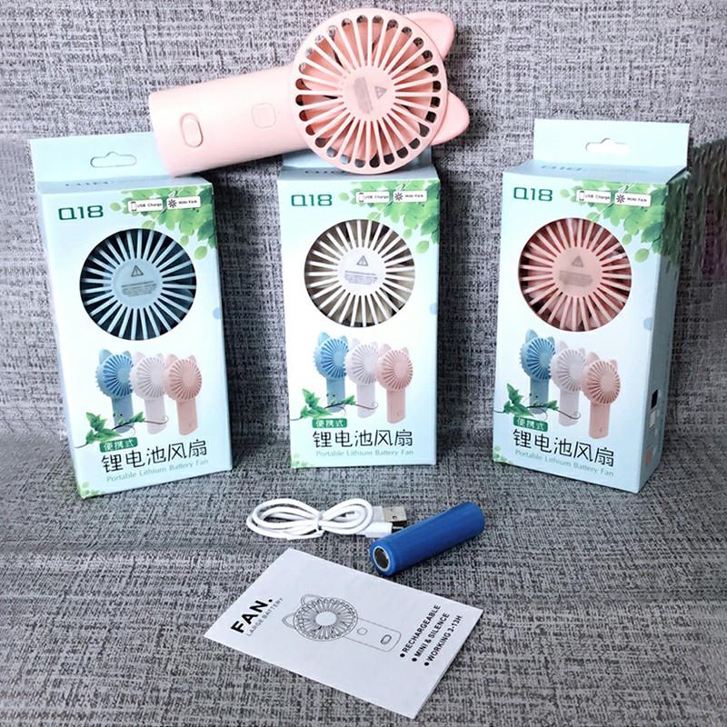 Cute Cat Ear USB Summer Portable Mini Fan Light Handheld Fan - Pink