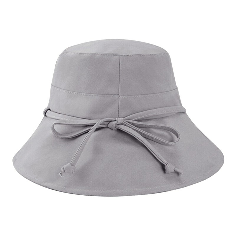 Womens Girls Bucket Hats Wide Brim UV Protection Floppy Foldable Bowknot Sun Hat - Light Grey