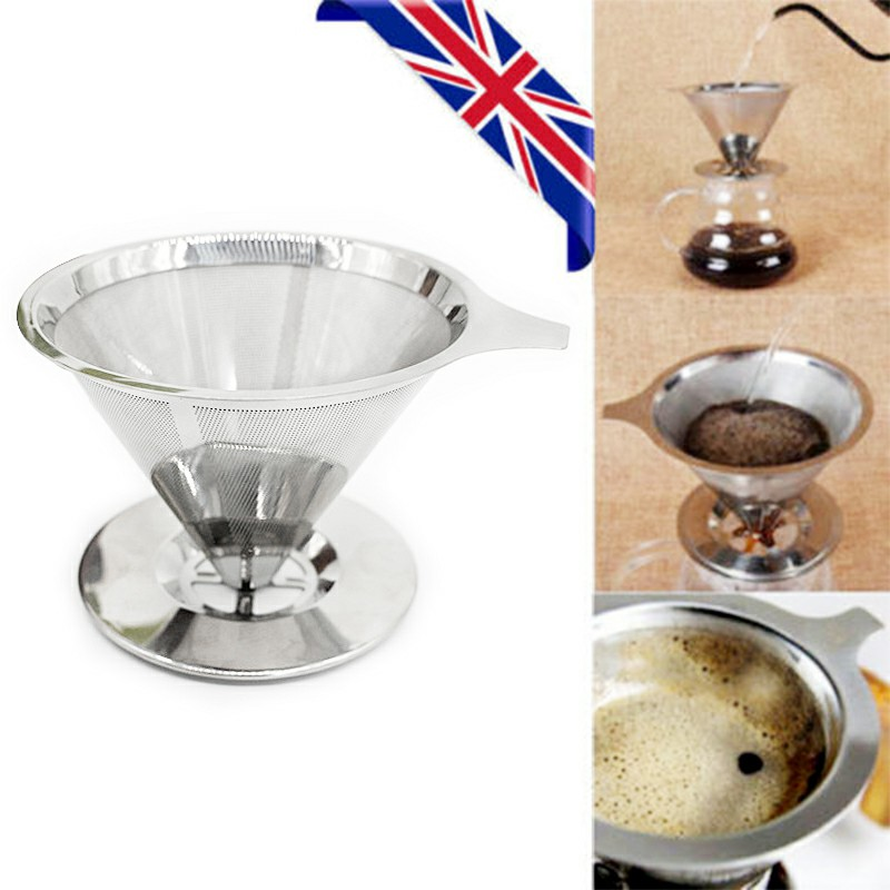 Stainless Steel Reusable Mesh Filter Strainer Coffee Paperless Pour Over Cone Dripper