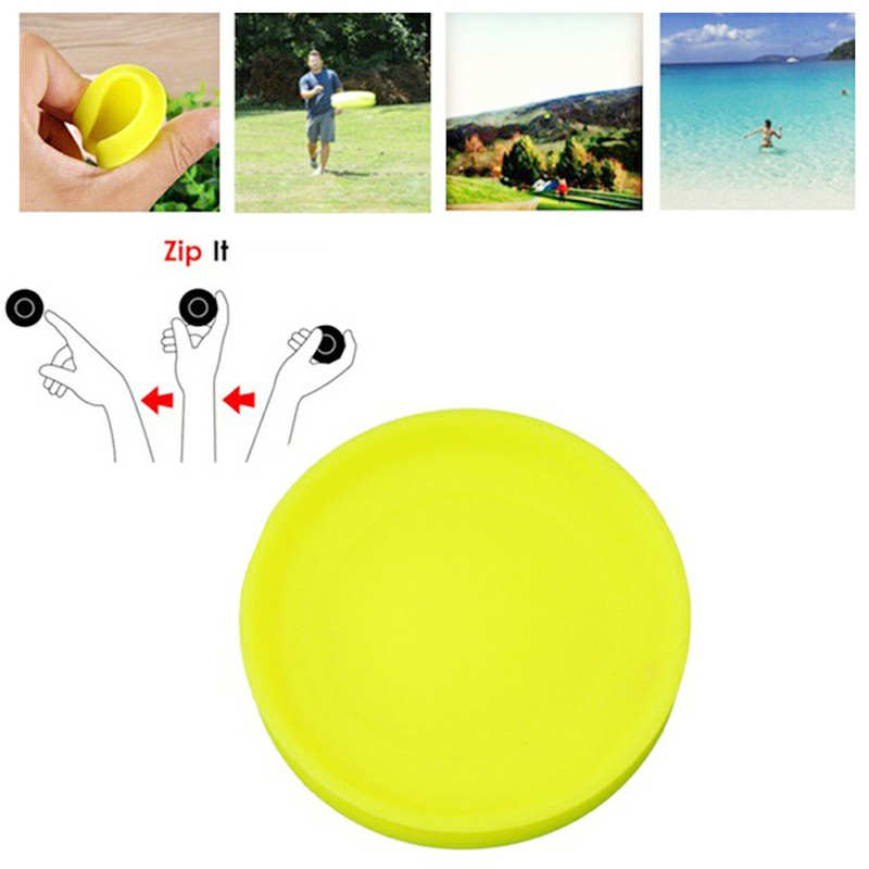 Zip Flying Disc Chip Mini Pocket Flexible UFO Saucer Spin in Catching Game AM2 - Yellow