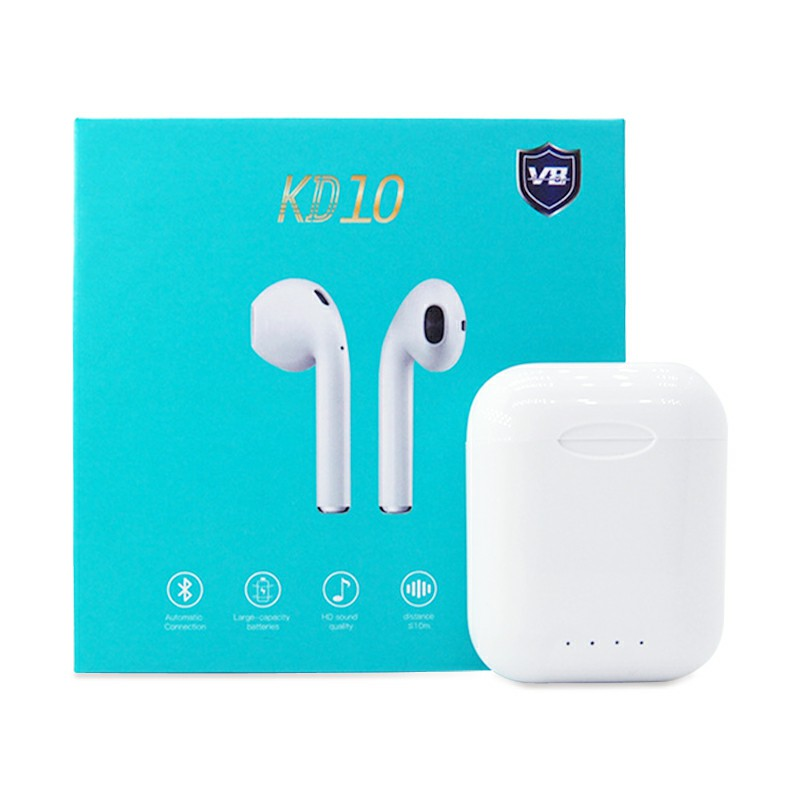 KD10 TWS 5.0 Bluetooth Earphones Wireless Touch Control 6D Bass Hifi Stereo Earbuds Headset with Charger Box - White