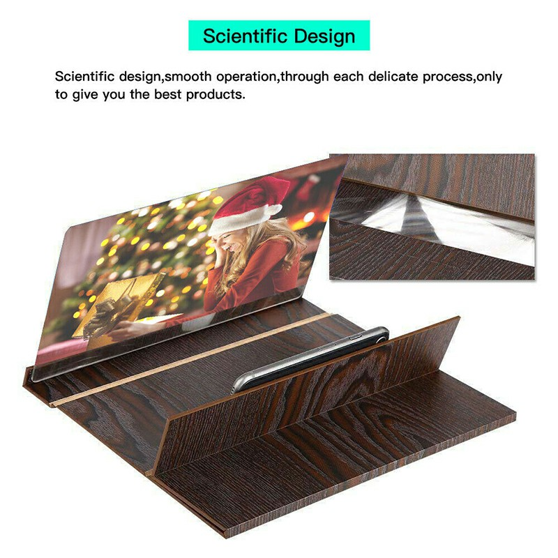 Wood Pattern 12 inch Magnifier Mobile 3D Screen Stand Amplifier for Smartphone Videos - Coffee