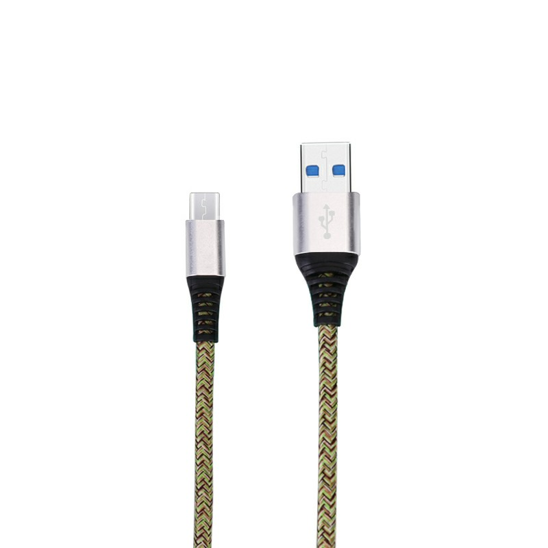 Micro USB Charger Data Line Fabric Braided Charging Cables for Android Mobile Phones 1m - Silver