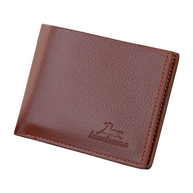 Leather Business Soft Wallet Coins Pocket Credit Card Photo Holder Purse - Light Brown