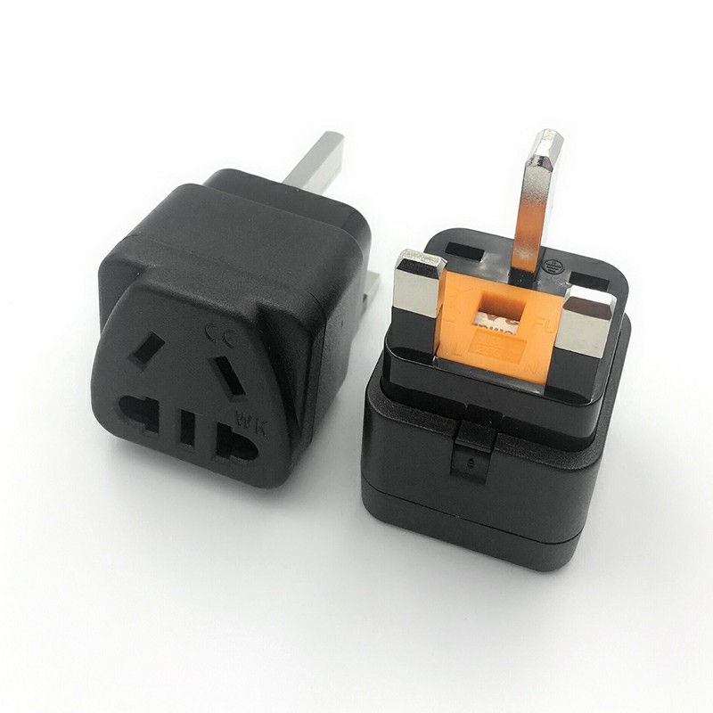 British Standard Conversion Connector Plug Power Adapter Universal Conversion Adapter with Insurance - Black