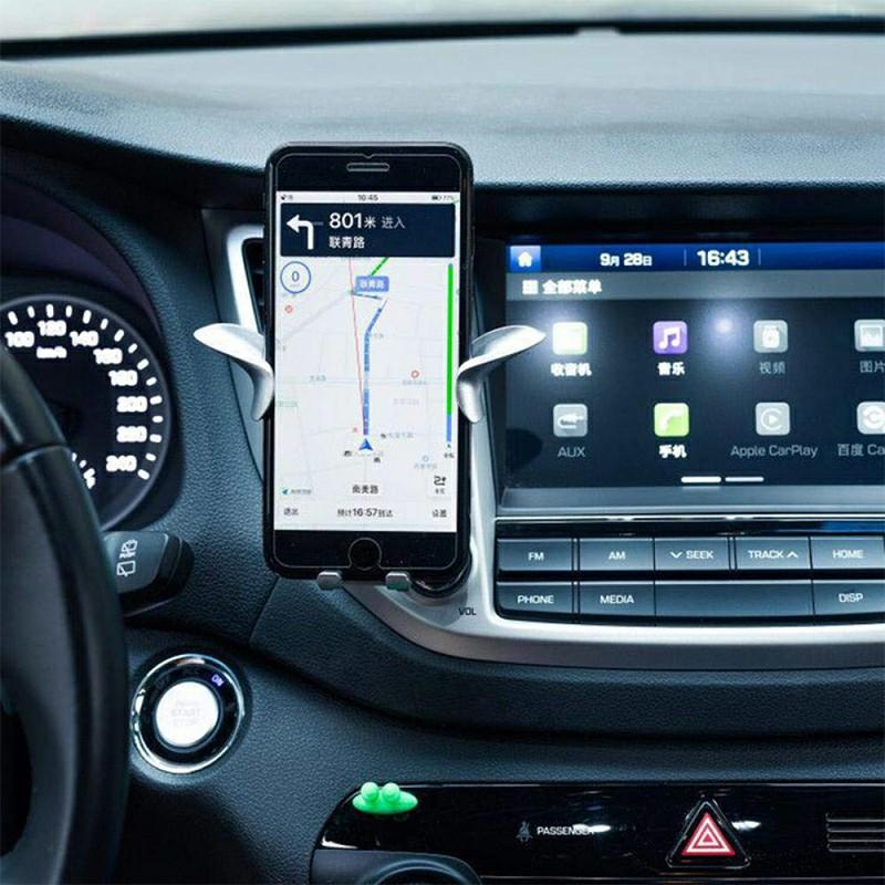 Angel Wing Y Shape Car Vehicle Phone Holder Air Vent Phone Mount Bracket - Silver