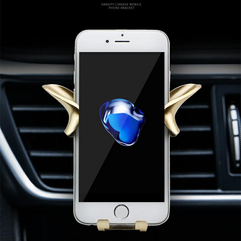 Angel Wing Y Shape Car Vehicle Phone Holder Air Vent Phone Mount Bracket - Gold