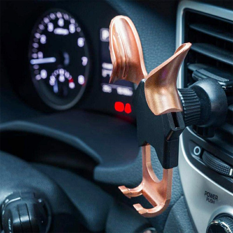 Angel Wing Y Shape Car Vehicle Phone Holder Air Vent Phone Mount Bracket - Rose Gold
