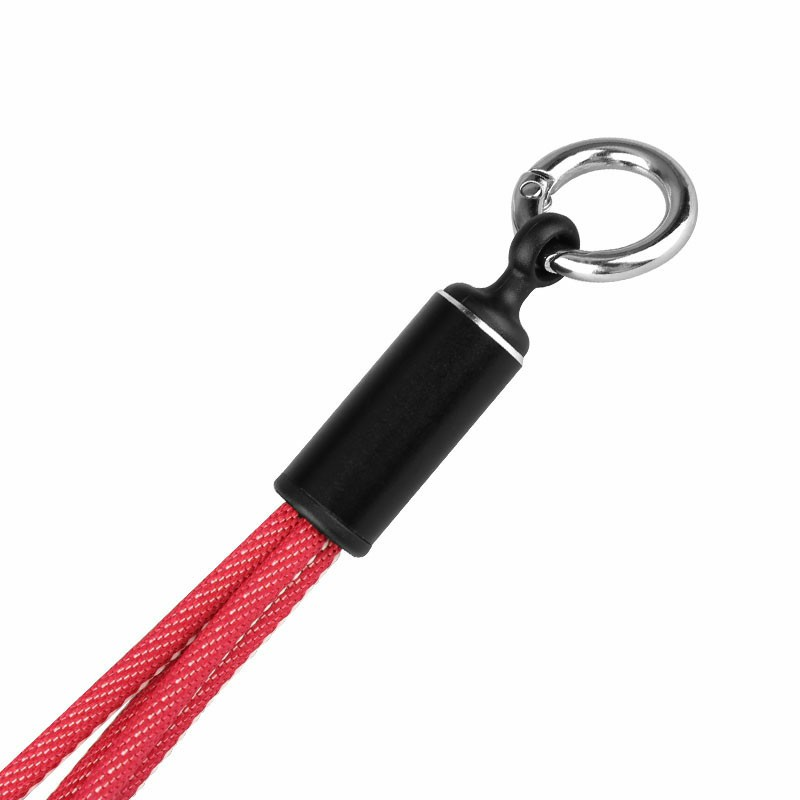 3 in 1 Key Chain Short Charging Cables Type C Micro USB and Lightning Fast Charging Cable - Red