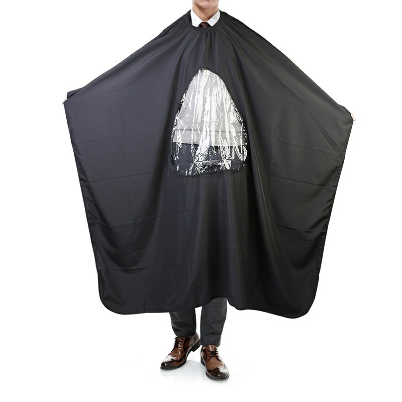 Salon Home Barbers Hairdressing Cape Gown with Viewing Window for Hair Cutting - Black