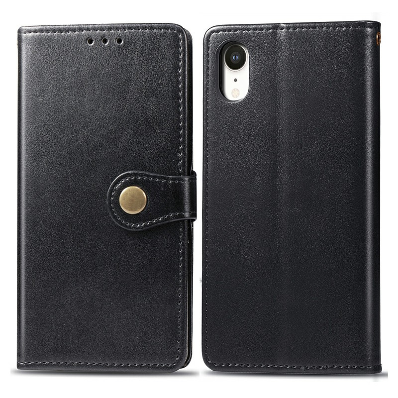 Flip Stand Phone Cover Leather Wallet Case with Magnetic Buckle Closure for iPhone XR - Black