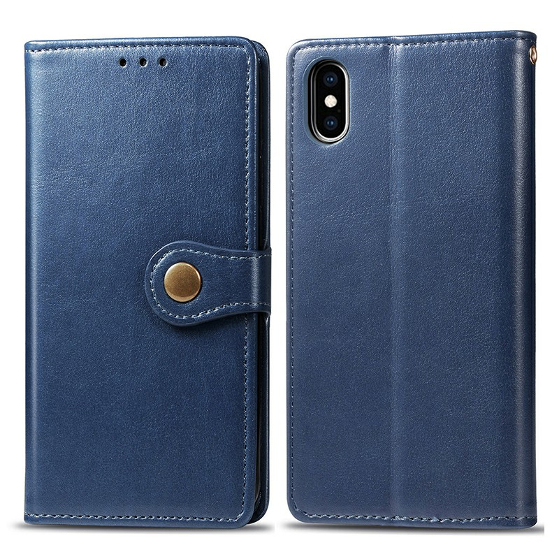 PU Leather Wallet Case Flip Stand Phone Cover Magnetic Buckle Closure for iPhone X/XS - Blue