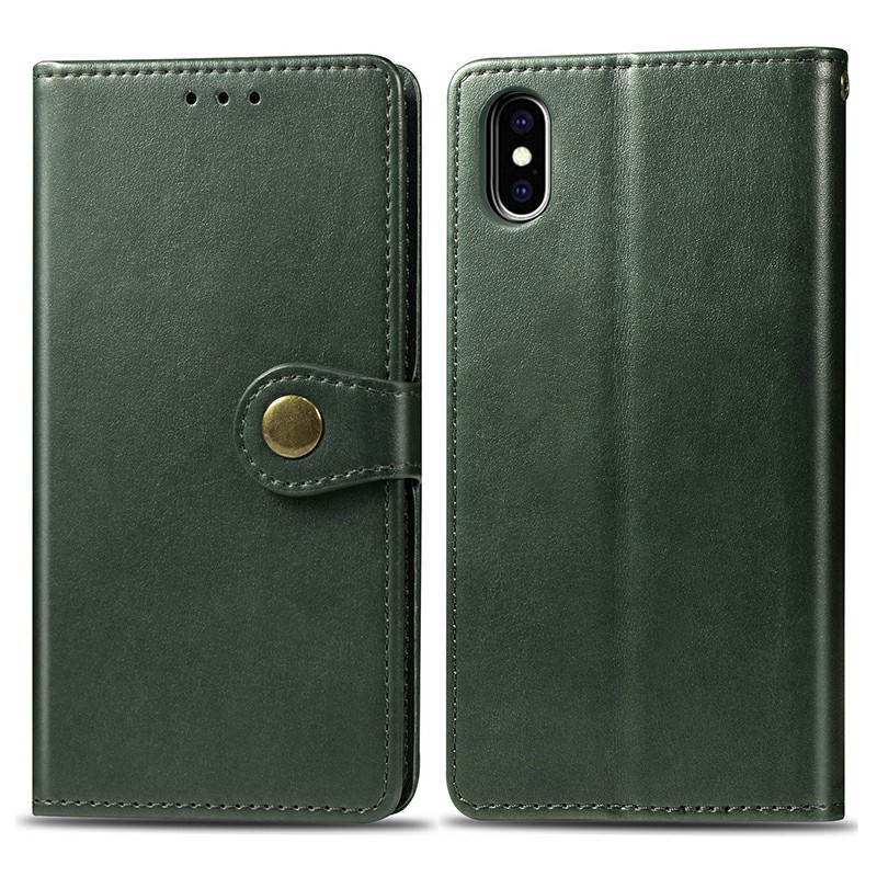 Magnetic Buckle PU Leather Wallet Case Cover with Stand Function for iPhone XS Max - Green