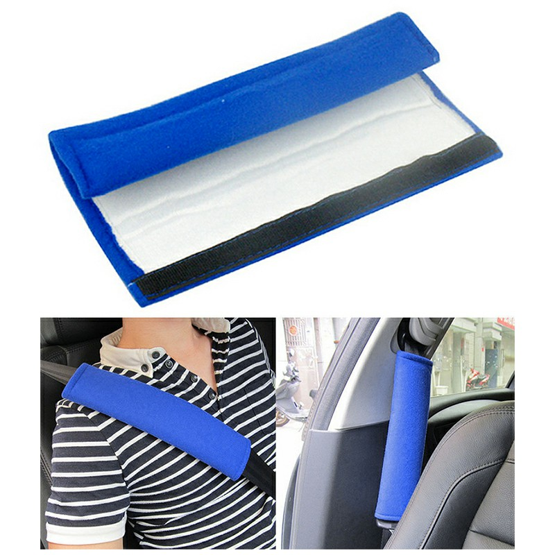 One Pair Kids Car Safety Seat Belt Vehicle Harness Shoulder Pad Cover Protection - Blue