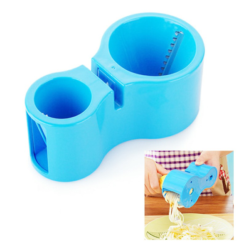 Dual Size Spiral Vegetable Cutter Grater Sharpener Kitchen Cooking Tools - Blue