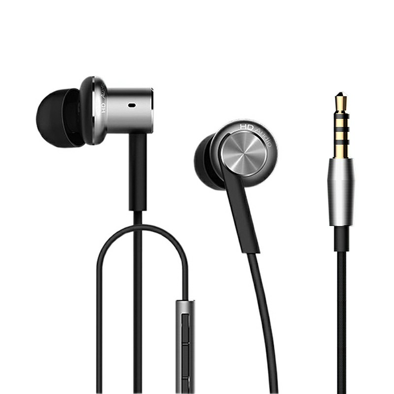 M7 3.5MM Wired In-ear Metal Ring Headphones with Microphone Earphones and Three-button Remote - Black