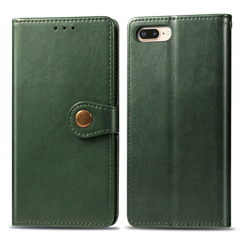 Magnetic Buckle Leather Wallet Card Cover Phone Case Flip with Stand Holder for iPhone 7 Plus/8 Plus - Green