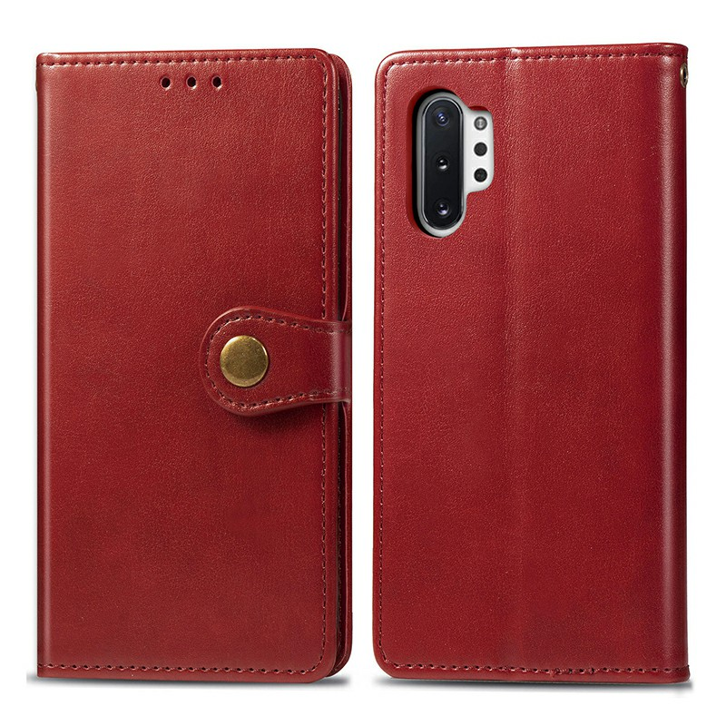 Magnetic Leather Wallet Card Case Cover with Flip Stand for Samsung Galaxy Note 10+/PRO - Red