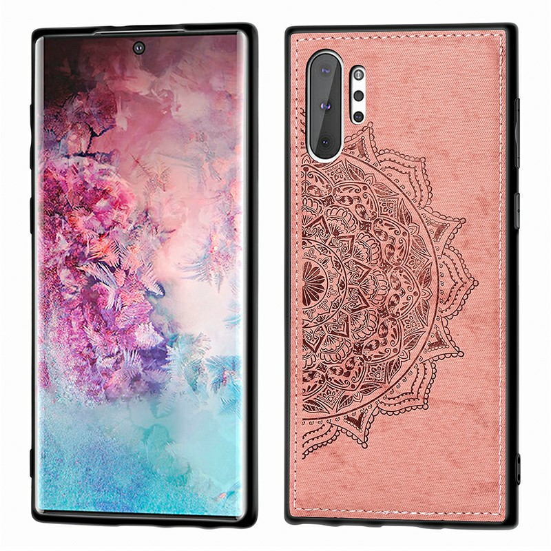 3D Printed Mandala Embossed Fabric TPU Back Case Phone Cover for Samsung Galaxy Note 10+ - Rose Gold