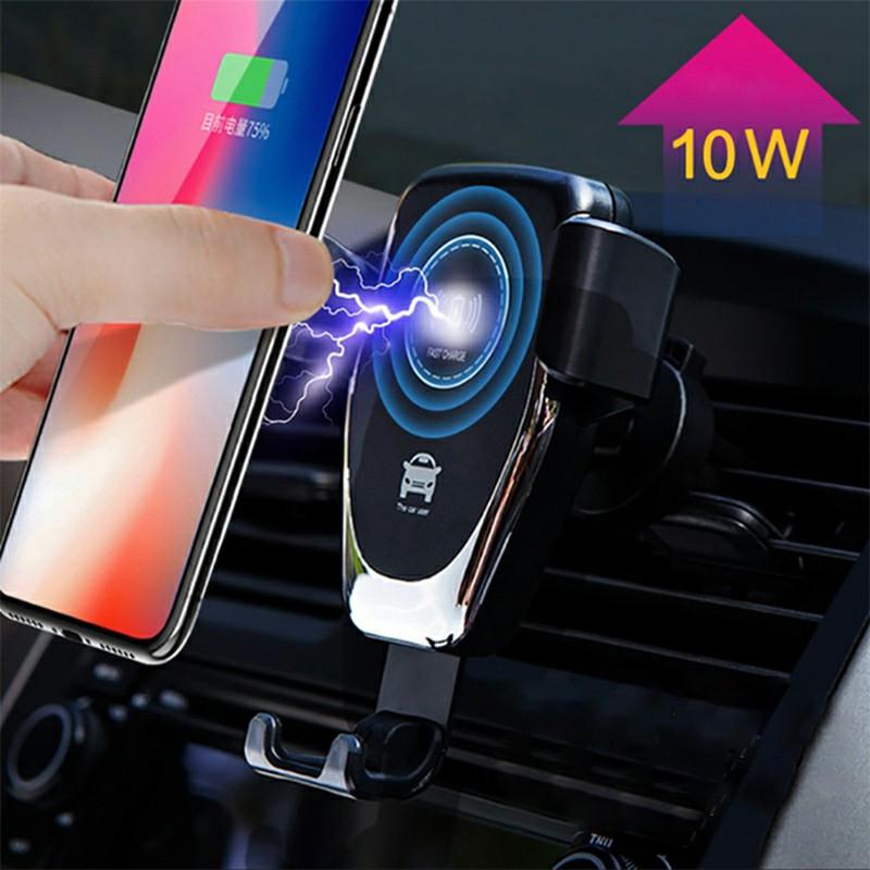 Q12 Car Phone Holder Stand QI Wireless Charger Intelligent Sensor Car Holder Charger - Black