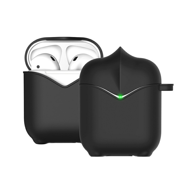 Apple AirPods Portable Wireless Bluetooth Earphone Silicone Protective Box Case - Black