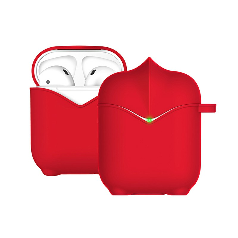 Apple AirPods Portable Wireless Bluetooth Earphone Silicone Protective Box Case - Red