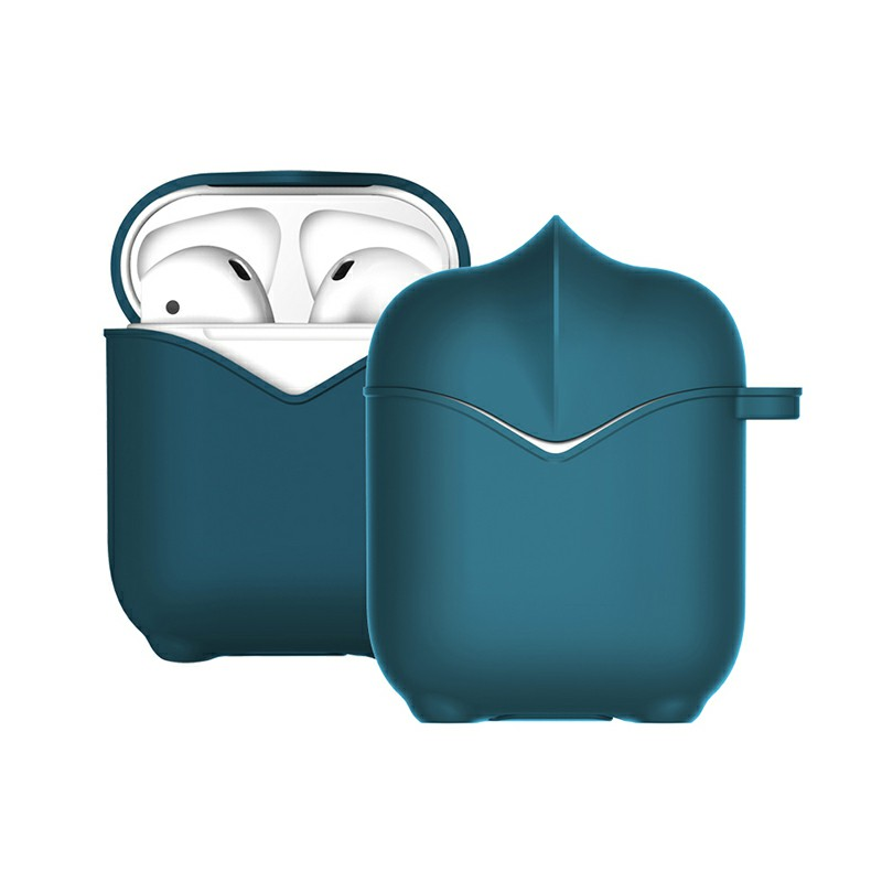Apple AirPods Portable Wireless Bluetooth Earphone Silicone Protective Box Case - Dark Blue