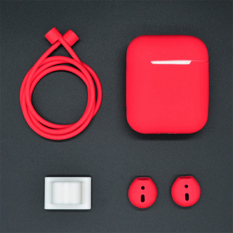 4 Piece Set AirPods Portable Silicone Protective Case Anti Rope Earbud Cover Hook Buckle Gadget - Red