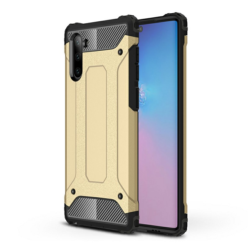 Anti-knock Rugged Armor TPU + PC Hard Case Bumper Case Cover for Samsung Galaxy Note 10 - Gold