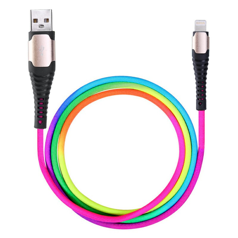 Rainbow Colourful Apple 8pin Charging Cable Braided Data Wire 1m - Gold