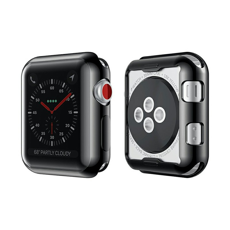 38mm Full Protection Cover Soft TPU Protective iWatch Case for Apple Watch Series 2/3 - Black