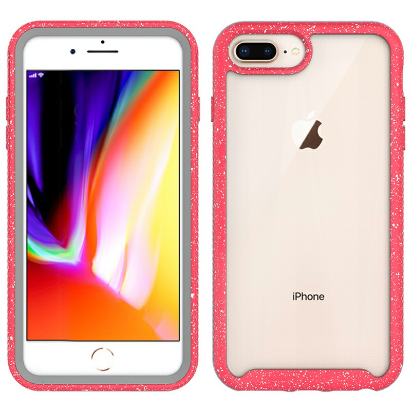 ShockProof TPU + PC Phone Case Protection Transparent Back Cover for iPhone7plus/8plus - Red