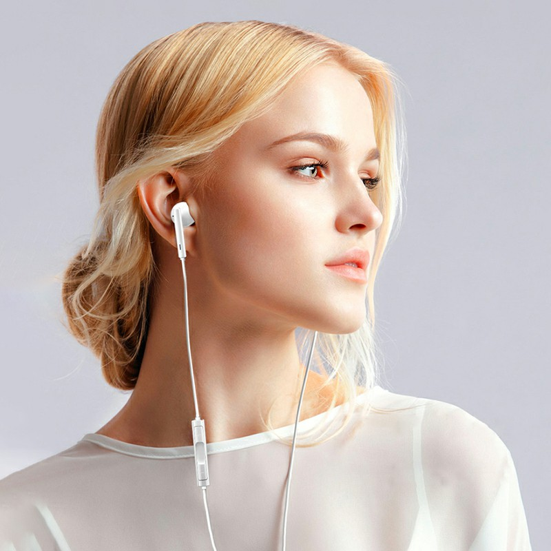 ES-077 Portable Type C Earphones Wired Control USB-C Headphones with Microphone for Smartphone - White