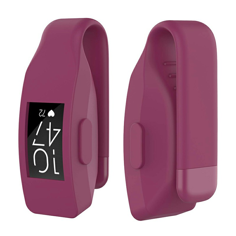 Soft Silicone Replacement Case Clip Holder Fitting for Fitbit Inspire and Inspire HR - Wine Red