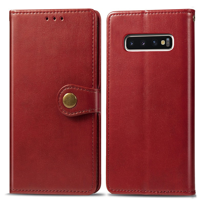 PU Leather Wallet Case Stand Holder Cover with Magnetic Buckle Function for Samsung Galaxy S10 Plus - Red