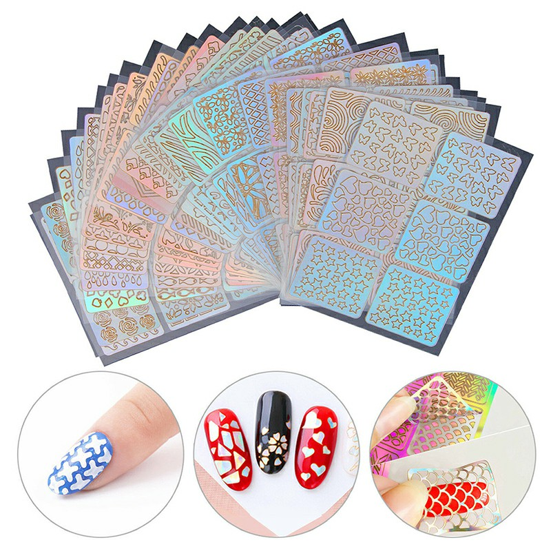 24 Sheets 3D Nail Art Tip Stencil DIY Guide Vinyl Hollow Decal Manicure Stickers