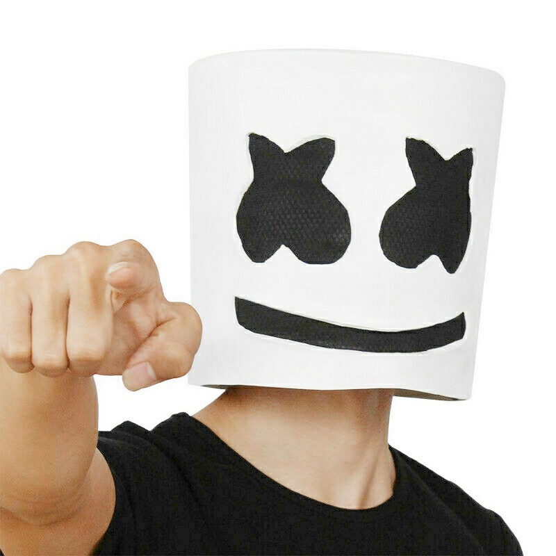 Marshmello DJ Mask Full Head Helmet Halloween Cosplay Mask Mask Bar Music Marshmallow Mask